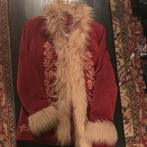 Genuine leather vintage red orange suede fur coat